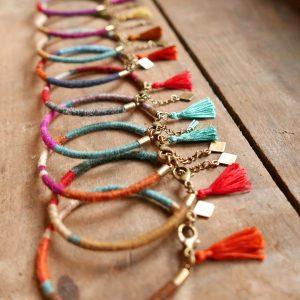 Bracelets simples joncs de laine - Araignée Gypsie