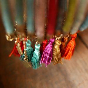 Bracelets de laine & pompons de soie - Araignée Gypsie